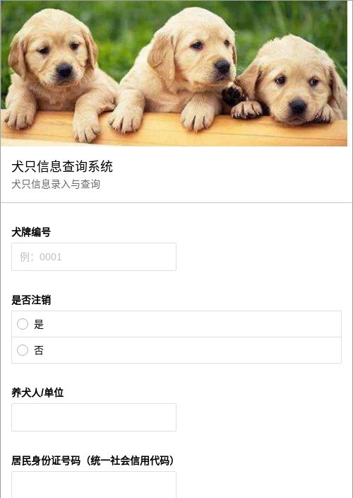 犬只信息查询系统-模版详情-模版中心-金数据-信息登记模板-政府单位模板